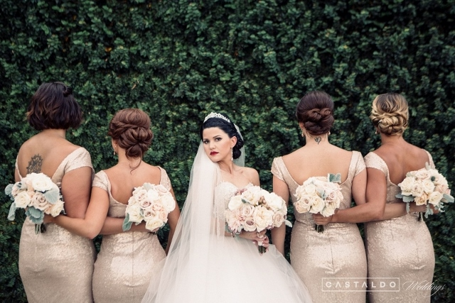 blush and gold at bella collina bridesmaids