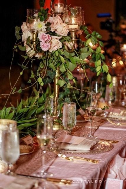 blush and gold at bella collina gold candelbra