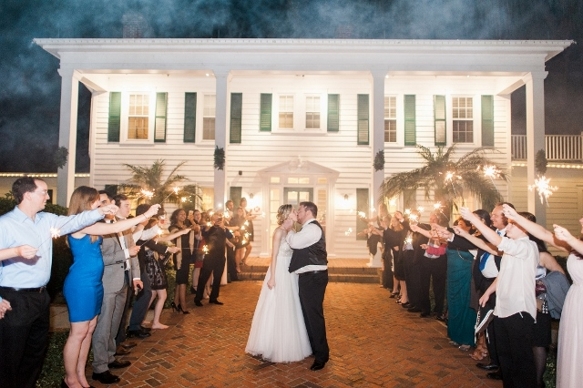 cypress grove wedding sparkler exit