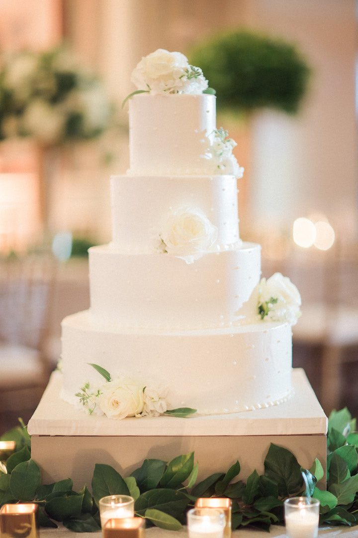 elegant green and gold wedding cake