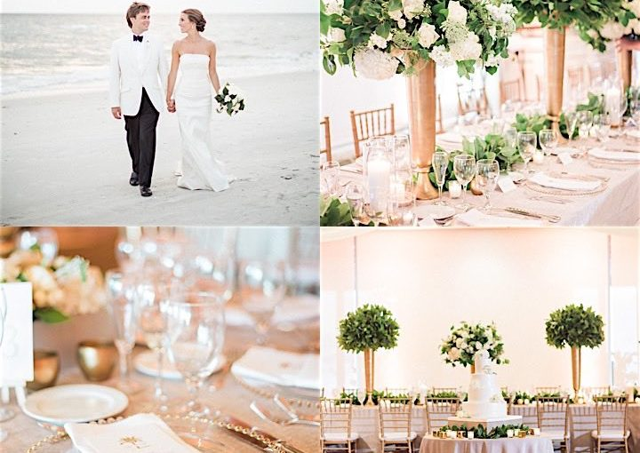 A White, Gold, and Green Wedding: Heather and David