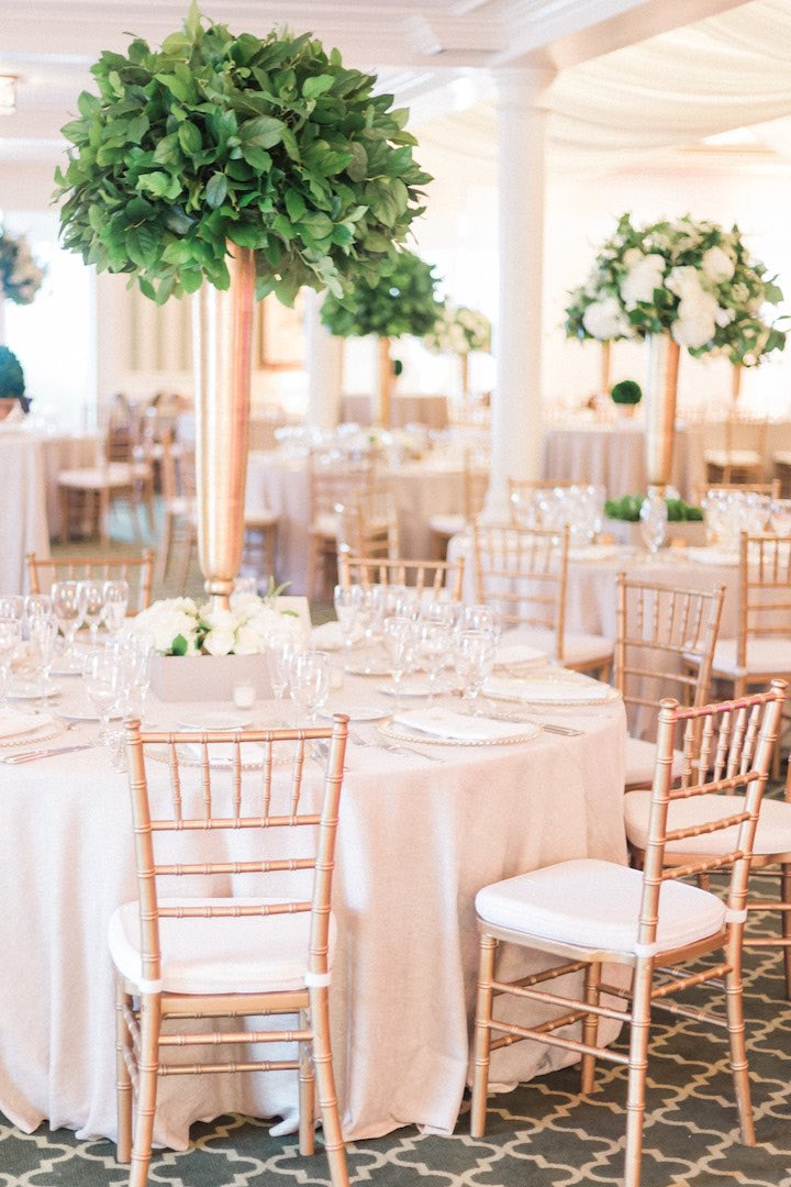 elegant green and gold wedding gold chiavari chairs