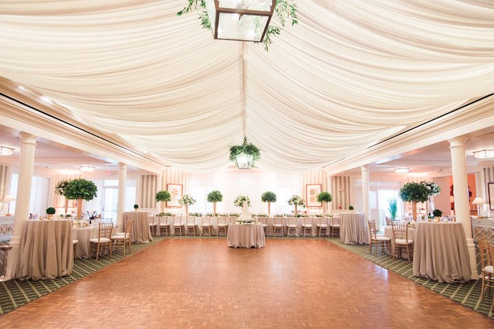elegant green and gold wedding reception decor