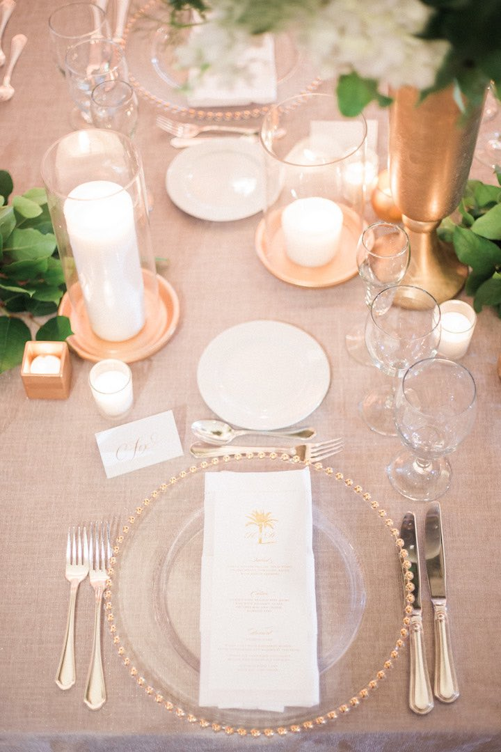 elegant green and gold wedding table decor