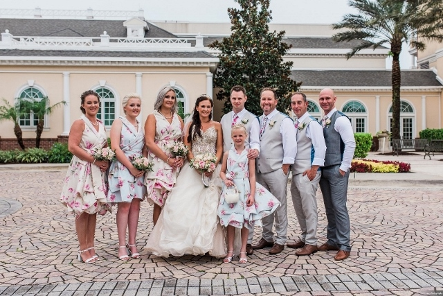 rich cream and shimmering gold wedding bridal party