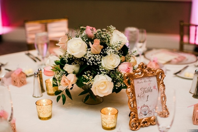 rich cream and shimmering gold wedding table decor
