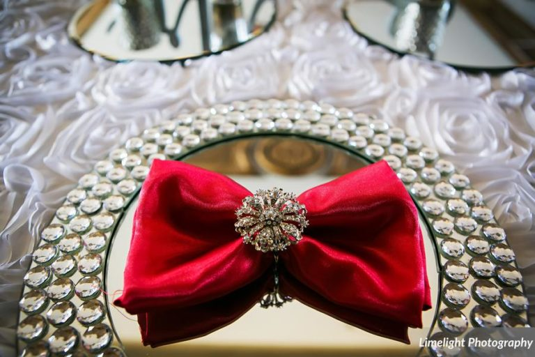 vivacious red and black mordern wedding bling mirror charger
