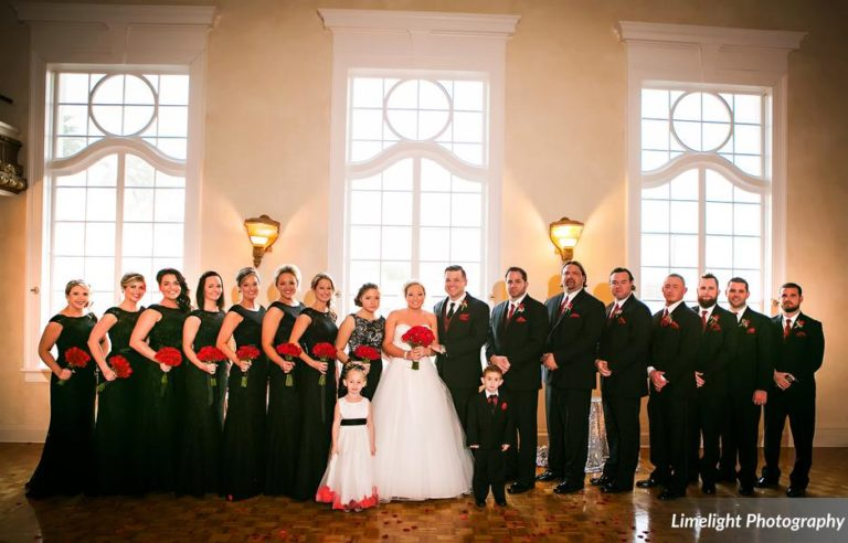 vivacious red and black mordern wedding bridal party