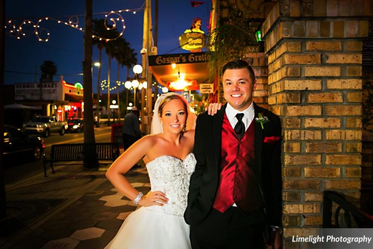 vivacious red and black mordern wedding bride and groom