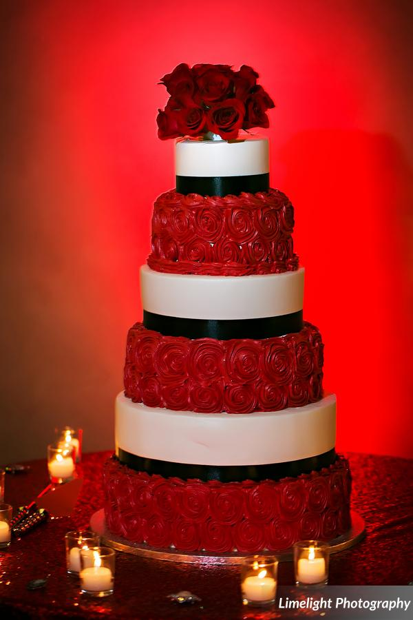 vivacious red and black mordern wedding cake