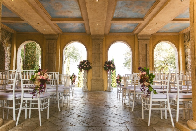 bella collina breathtaking ox blood gold wedding, ceremony white chiavari chairs