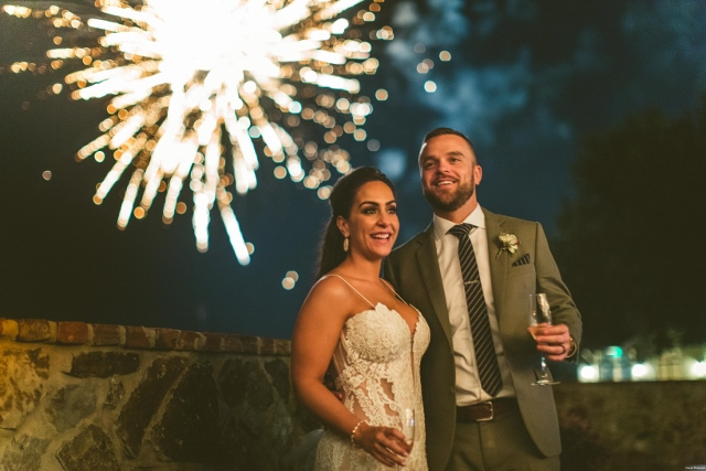 bella collina breathtaking ox blood gold wedding, fire works bride and groom
