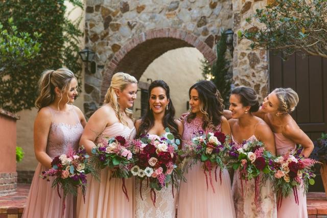 bella collina breathtaking ox blood gold wedding, bridesmaids