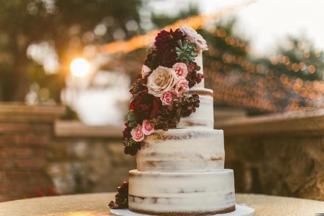 bella collina breathtaking ox blood gold wedding, wedding cake
