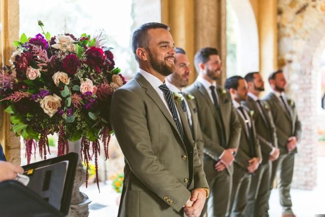 bella collina breathtaking ox blood gold wedding, groomsmen