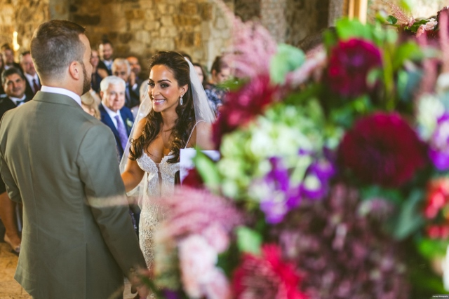 bella collina breathtaking ox blood gold wedding, ceremony bride and groom