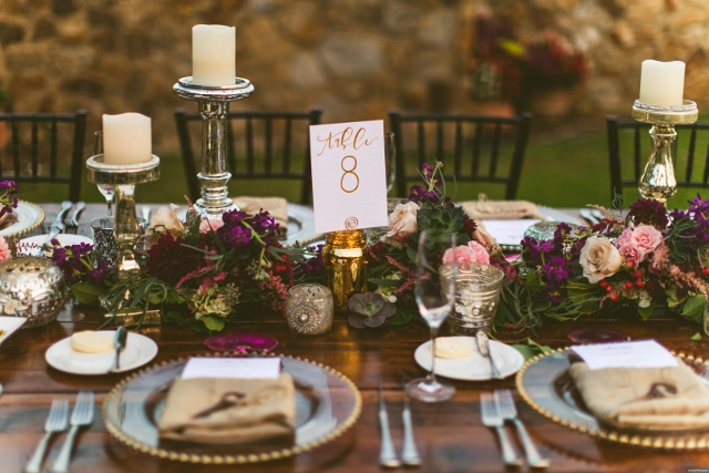bella collina breathtaking ox blood gold wedding, reception table decor