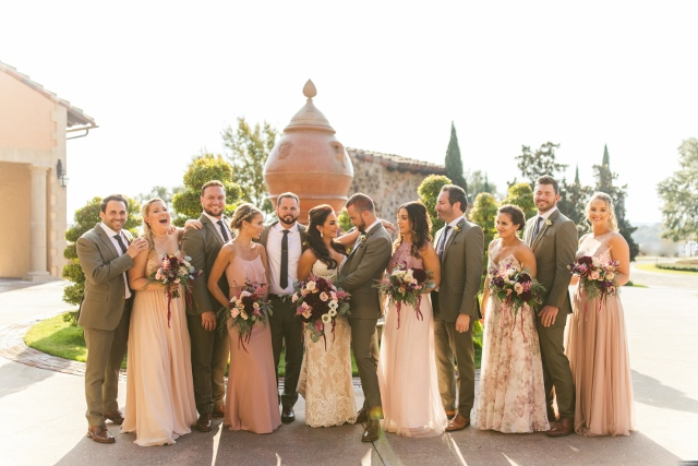 bella collina breathtaking ox blood gold wedding, bridal party
