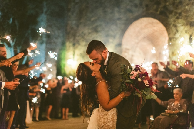 bella collina breathtaking ox blood gold wedding, wedding exit