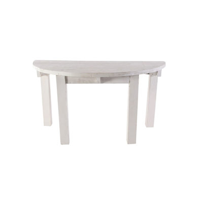 60″ Whitewashed Half Moon Table