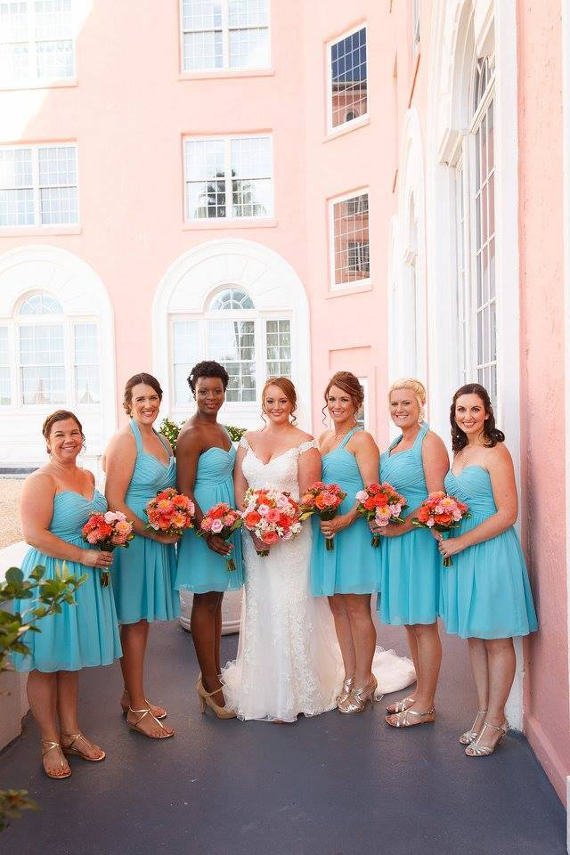 Colorful Wedding on the Beach, bridesmaids
