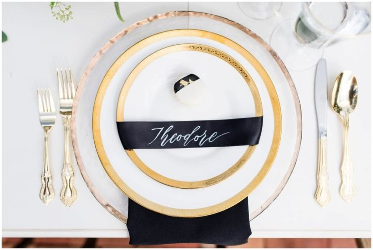 black and white capen house elopement, gold rim charger