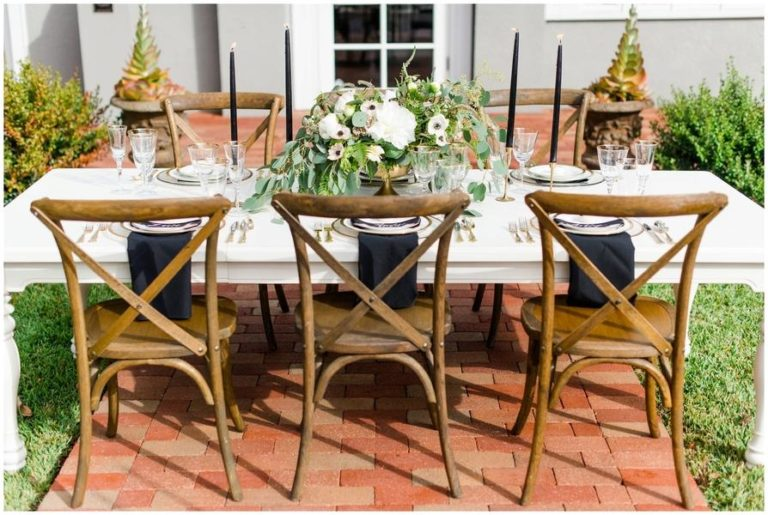 black and white capen house elopement, french country chairs