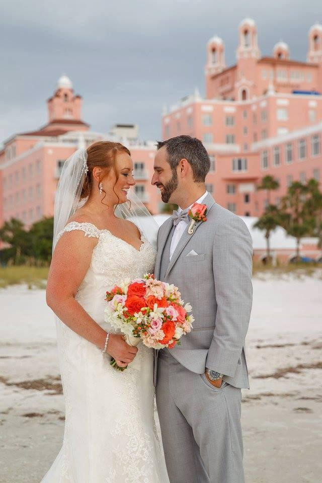 colorful wedding on the beach, bouquet