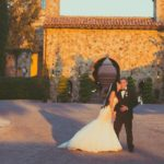 ivory and gold bella collina wedding, bride and groom
