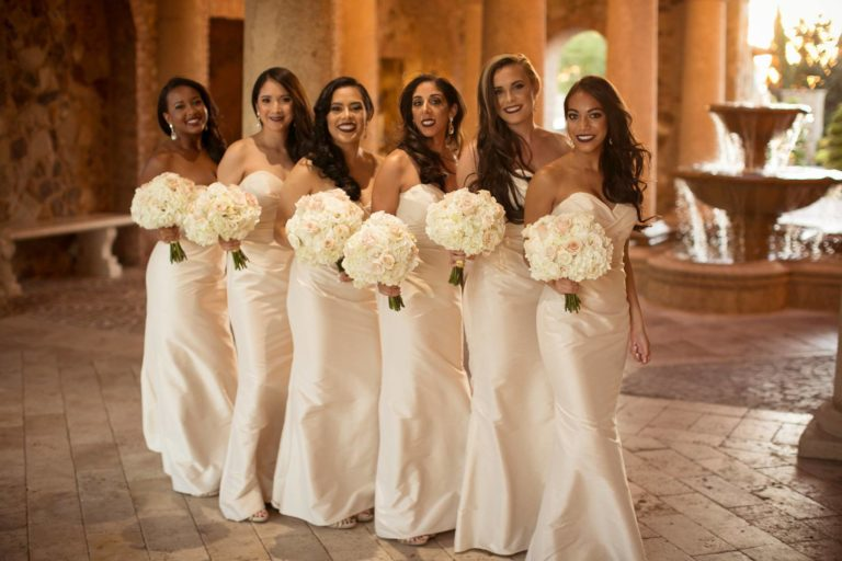 ivory and gold bella collina wedding, bridesmaids