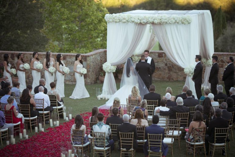 ivory and gold bella collina wedding, ceremony