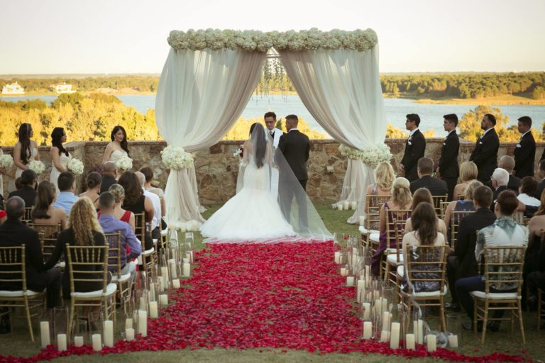 ivory and gold bella collina wedding, ceremony decor