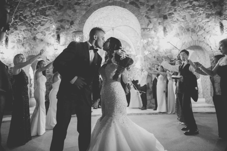 ivory and gold bella collina wedding, exit