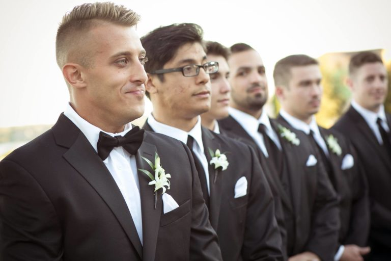 ivory and gold bella collina wedding, groomsmen
