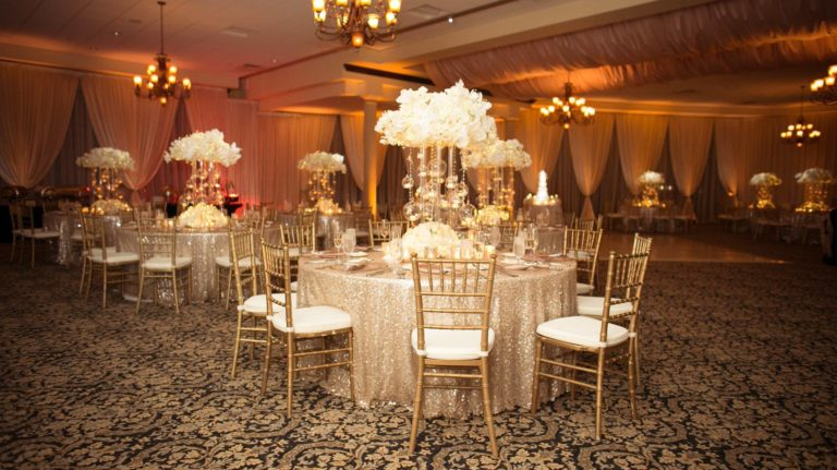 ivory and gold bella collina wedding, reception decor