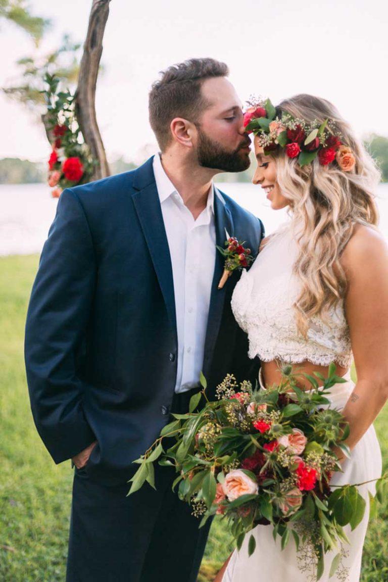 Bohemian Wedding Bride Groom