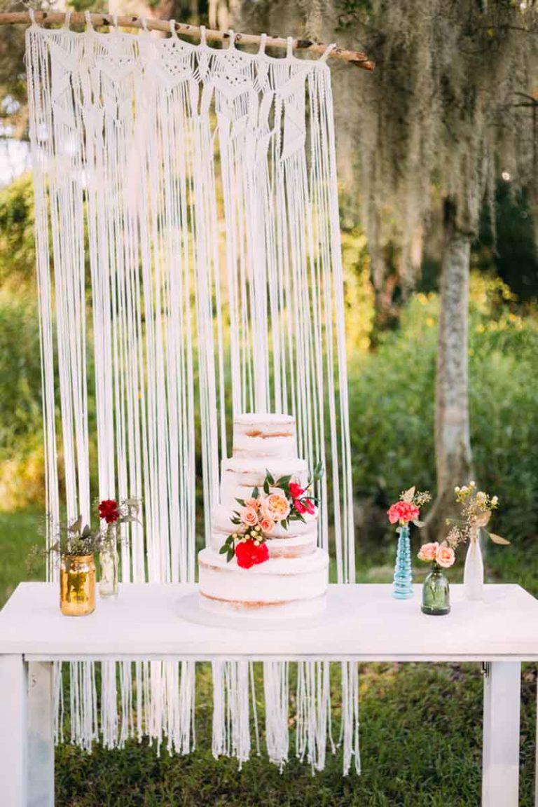 Bohemian Wedding Cake Table
