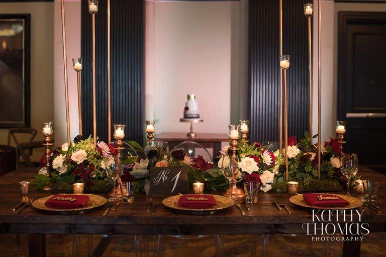 Downtown Wedding Crawl Mahogany Table