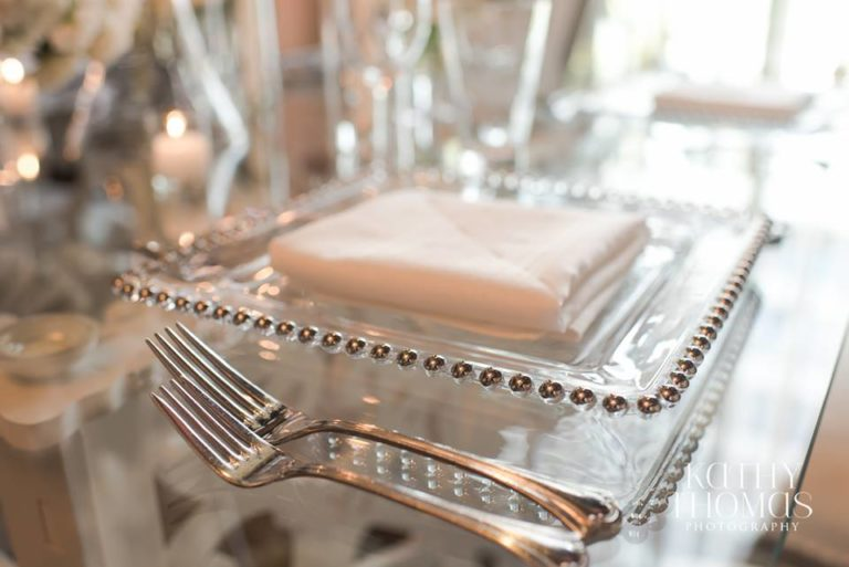 Downtown Wedding Crawl Silver Beaded Charger