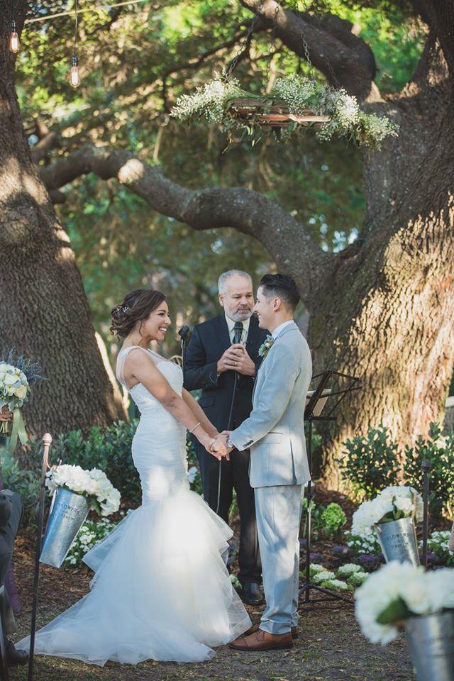 Outdoor Desert Wedding Ceremony Couple