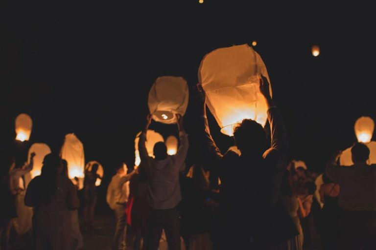 Outdoor Desert Wedding Chinese Lantern