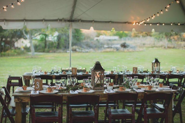 Outdoor Desert Wedding Reception Mahogany Table