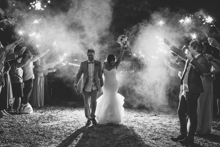 Outdoor Desert Wedding Sparklers