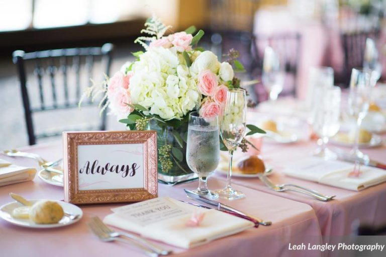 Pink Bella Collina Wedding Reception Setting