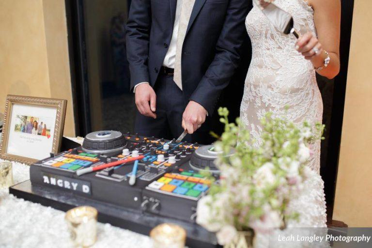 Romantic Bella Collina Wedding Grooms DJ Cake