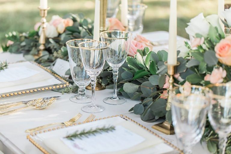 Southern Garden Chic Wedding Gold Chargers