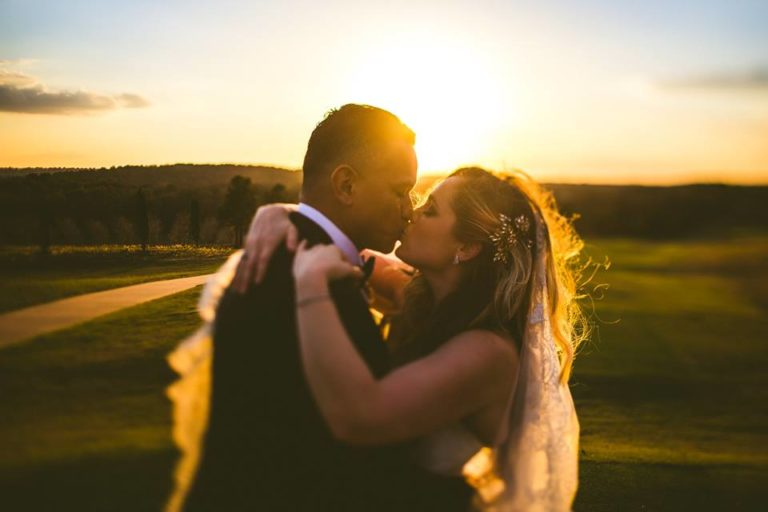 White Bella Collina Wedding Bride Groom Sunset