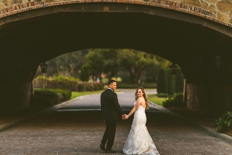 White Bella Collina Wedding Couple