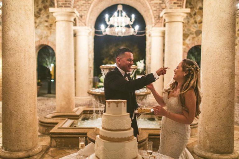White Bella Collina Wedding Reception Cake
