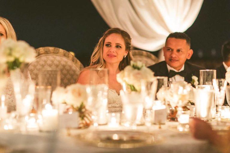 White Bella Collina Wedding Reception Couple